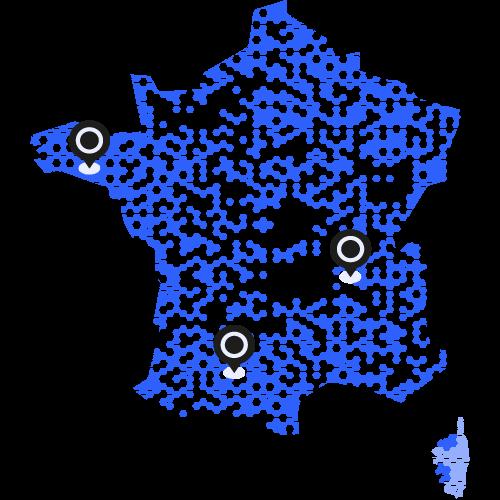 Carte des bureaux et installations de Vega France